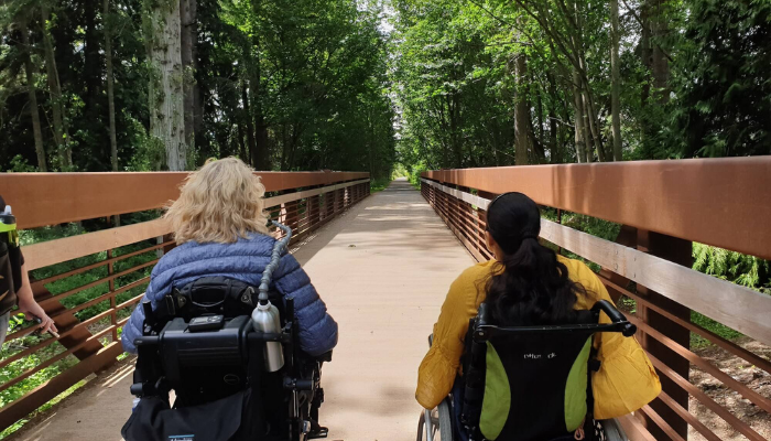 Closer to nature on my wheelchair at Railroad Bridge Park